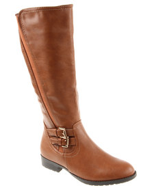Utopia Side Gusset Knee High Boot Tan