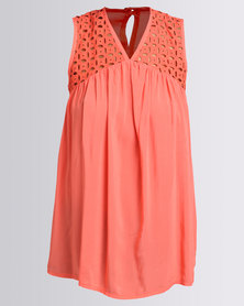 Utopia Anglaise Inset Top Coral