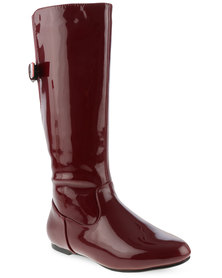 Utopia Patent Knee High Boots with Buckle Detail Burgundy
