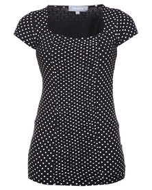 Utopia Spot Top Black/White