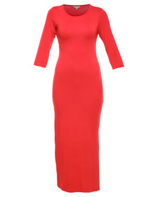 Utopia Maxi Dress with Slits Red