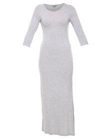 Utopia Melange Maxi Dress with Slits Grey
