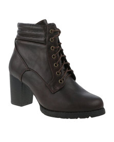 Utopia Pipe Quilt Lace Up Heel Boot Brown