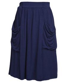 Utopia Midi Skirt with Pockets Navy