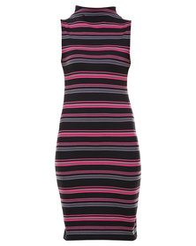 Utopia Stripe Funnel Neck Dress Black/Pink