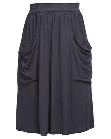 Utopia Midi Skirt with Pockets Charcoal