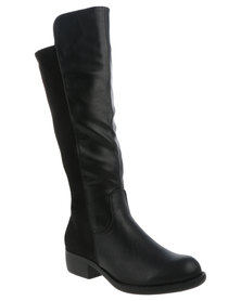 Utopia Over the Knee PU Suedette Long Boot Black