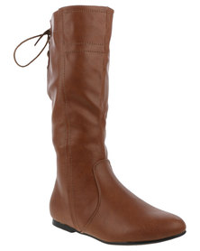 Utopia Back Lace Knee High Boot Tan