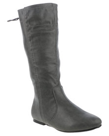 Utopia Back Lace Knee High Boot Grey