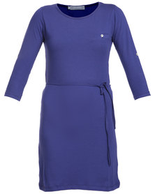 Utopia T-Shirt Dress with Plaited Belt Blue