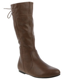 Utopia Back Lace Knee High Boot Brown