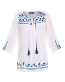 Utopia Geometric Embroidery Top White