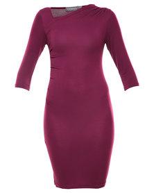 Utopia Asymmetrical Sheath Dress Grape