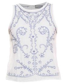 Utopia Sleeveless Embroidered Top White