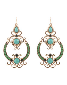 Utopia Mix Filigree Drop Earrings Green