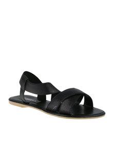 Utopia Cross Strap Elastic Sandal Black