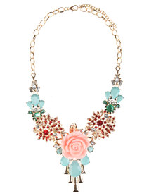 Utopia Multi Coloured Flower Statement Necklace Multi