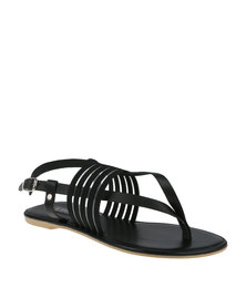Utopia Elastic & Leather Thong Sandal Black