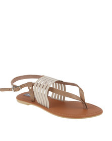 Utopia Elastic & Leather Thong Sandal Camel
