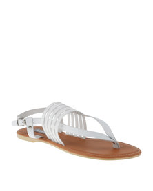 Utopia Elastic & Leather Thong Sandal White