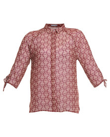 Utopia Print Blouse Burgundy
