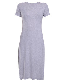 Utopia Side Slit Top Grey Melange