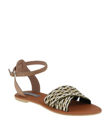 Utopia Weave & Leather Strap Sandal Bone