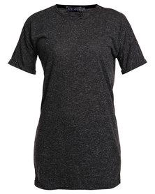 Utopia Melange Long Line Tee with Roll Up Sleeves Black