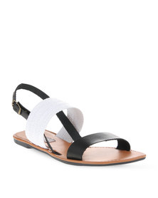 Utopia Leather & Weave Slingback Sandals Black