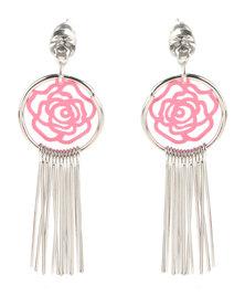 Utopia Rose Tassel Earrings Pink