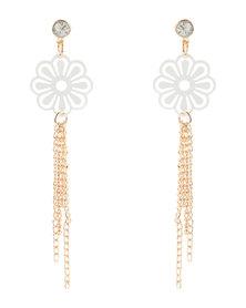 Utopia Flower Tassel Earrings Gold