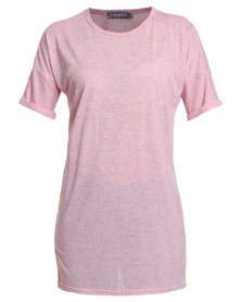 Utopia Long Line Tee with Roll Up Sleeves Pink