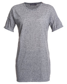 Utopia Long Line Tee with Roll Up Sleeves Charcoal