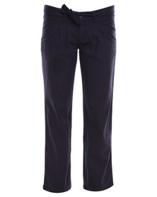 Utopia Long Linen Pants with Drawcord Navy