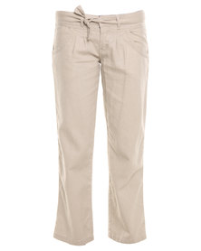 Utopia Long Linen Pants with Drawcord Stone