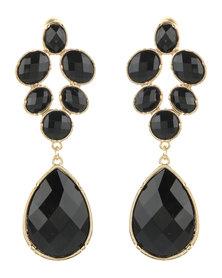 Utopia Emerald Drop Earrings Black