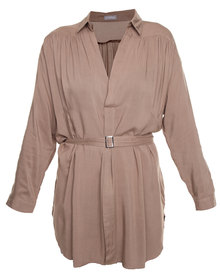Utopia Shirt Dress Camel
