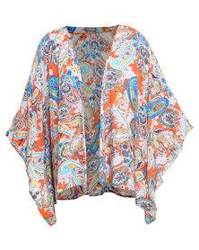 Utopia Printed Paisley Kimono Orange