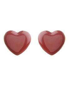 Utopia Heart Stud Earrings Red