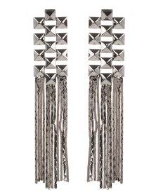 Utopia Stud & Chain Drop Earrings Gunmetal
