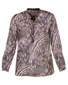 Utopia Animal Print Henley Blouse Brown