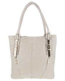 Utopia Zip Detail Handbag Beige