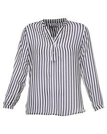Utopia Stripe Chiffon Henley Blouse Black/white