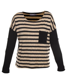 Utopia Stripe Top with Contrast Sleeve and Pocket Beige