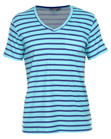 Utopia Stripe Tee with Pocket Blue