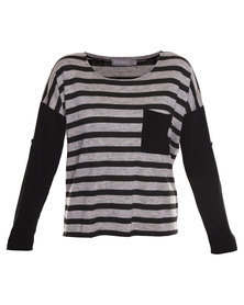 Utopia Stripe Top with Contrast Sleeve and Pocket Grey