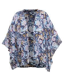 Utopia Paisely Printed Kimono Navy