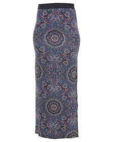 Utopia Paisley Skirt With Slits Blue