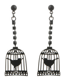 Utopia Bird Cage Drop Earrings Black