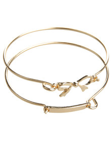 Utopia 2 Piece Bow Bracelet Set Gold